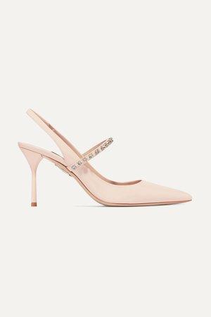 Baby pink Crystal-embellished patent-leather slingback pumps | Miu Miu | NET-A-PORTER