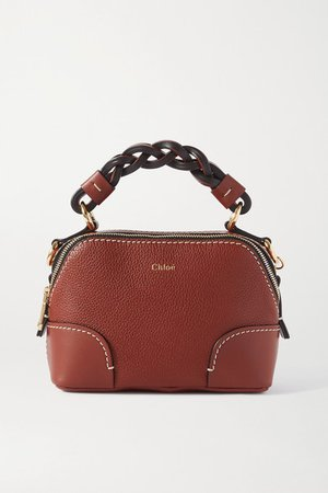 Daria Mini Textured And Smooth Leather Tote - Brown