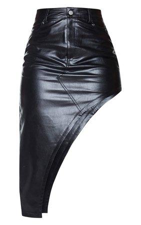 Black Faux Leather Asymmetric Midi Skirt | PrettyLittleThing USA