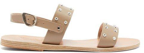 Dinami Leather Slingback Sandals - Light Grey