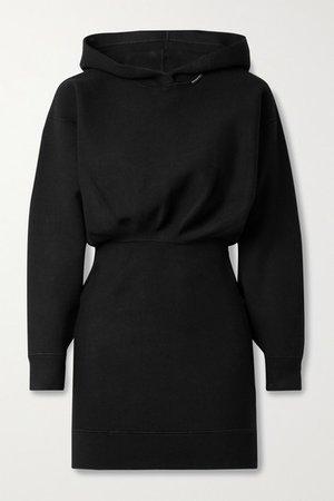 Hooded Knitted Mini Dress - Black