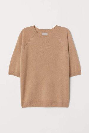 Short-sleeved Cashmere Sweater - Beige