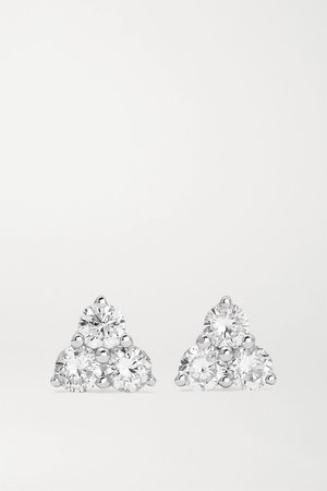 White gold Trillion 18-karat white gold diamond earrings   Anita Ko   NET-A-PORTER