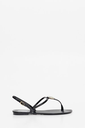 Max Mara Rubber Thong Sandals With M Plate