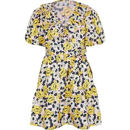 Yellow floral print short sleeve wrap dress | River Island