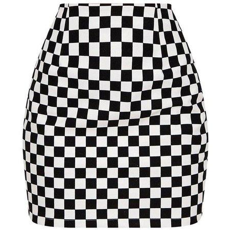 checkered print skirt