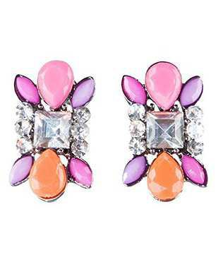 Buy Mint and Lolly Womens Cute Color-Faux Gem Acrylic And Rhinestone Post Earrings With Pink, Purple, Orange, And Rhinestone in Cheap Price on Alibaba.com