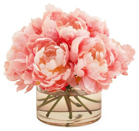 "10"" Peonies in Cylinder Vase, Faux - Arrangements under $150 - Shop By Price - Decor - Category Landing Page 