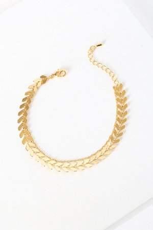 Gold Bracelet - Dainty Layered Bracelet - Arrow Chain Bracelet