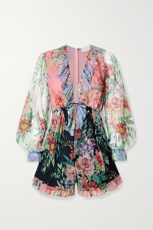 Bellitude Ruffled Patchwork Floral-print Silk-crepon Playsuit - Black