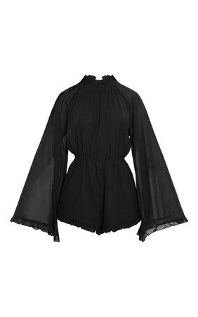 Black Backless Chiffon Playsuit | PrettyLittleThing