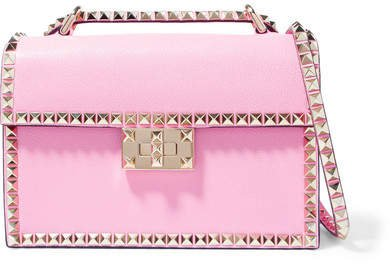 Garavani The Rockstud Small Textured-leather Shoulder Bag - Pink