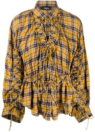 checked frilled shirt