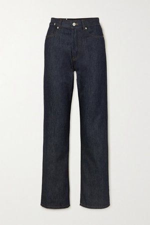 High-rise Straight-leg Jeans - Dark denim