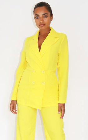 Petite Lemon Yellow Button Front Oversized Blazer | PrettyLittleThing USA