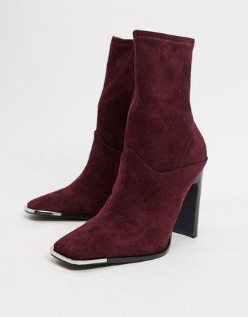 ASOS DESIGN Electra high heeled ankle sock boots in burgundy   ASOS