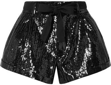 Belted Sequined Wool Shorts - Black