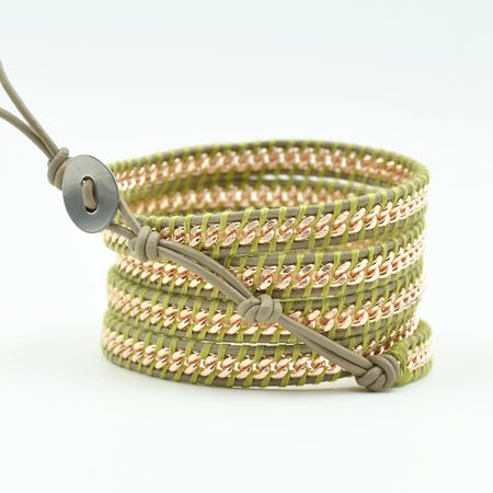 green leather wrap bracelet