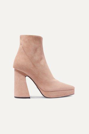 Beige Suede platform ankle boots | Proenza Schouler | NET-A-PORTER