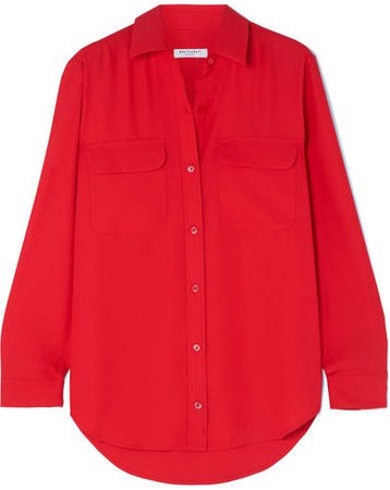 Signature Washed-silk Shirt - Red