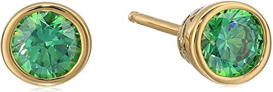 Amazon.com: Yellow Gold-Plated Sterling Silver Swarovski Zirconia Fancy Green Bezel Stud Earrings (1 cttw): Clothing