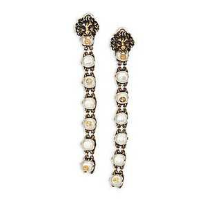 Gucci Lion Head Faux Pearl Clip-On Drop Earrings