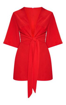 Red Tie Front Playsuit | PrettyLittleThing USA