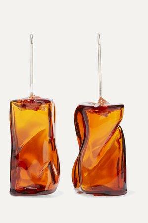 Orange Ice Cube silver-tone glass earrings | Maryam Nassir Zadeh | NET-A-PORTER