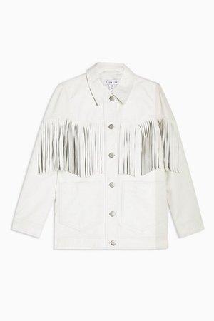 White Fringed Leather Jacket | Topshop