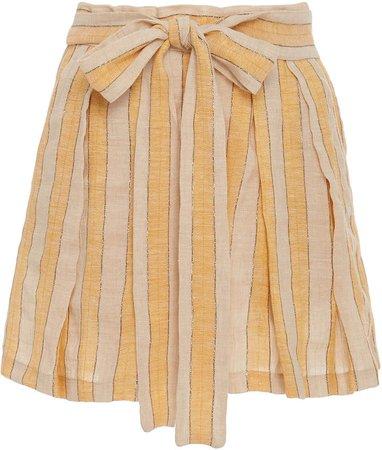 Jola Striped High-Rise Linen-Blend Shorts
