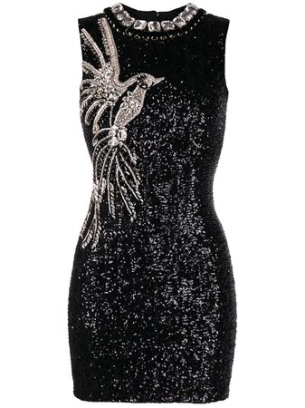 Balmain crystal and sequin-embellished sleeveless dress black VF16097P066 - Farfetch
