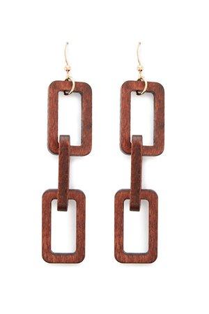 Cutout Wood Block Drop Earrings | Forever 21