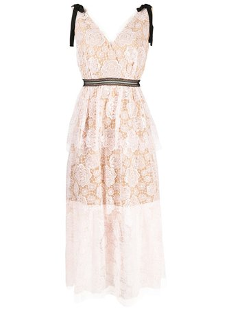Shop Self-Portrait rose lace midi dress with Express Delivery - FARFETCH