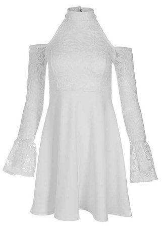 Cold Shoulder Lace Dress in White | VENUS