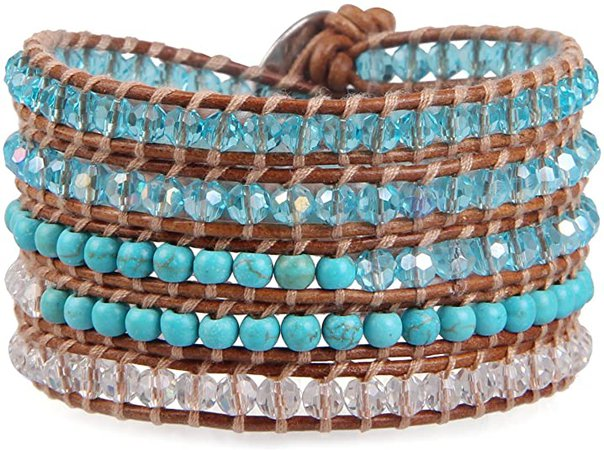 KELITCH Turquoise Blue Crystal Beaded 5 Wrap Bracelets Handmade Natural Leather New Charm Jewelry: Jewelry