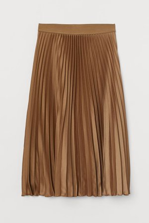 Pleated Skirt - Dark beige - Ladies | H&M US
