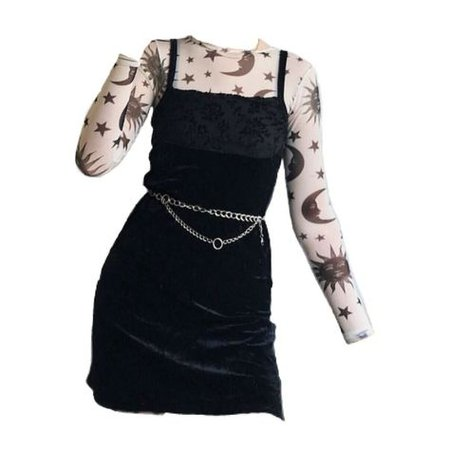 back pinafore dress over moon print long sleeve shirt png