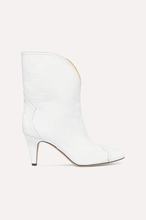 Dythey Leather Ankle Boots - White
