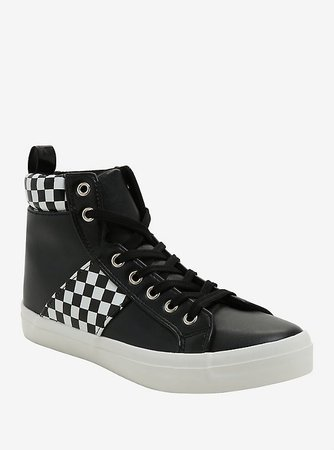 Black & White Checkered Hi-Top Sneakers