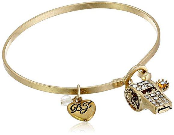 "Betsey Johnson ""Wanderlust"" Pave Whistle Charm Wire Bangle Bracelet: Jewelry"