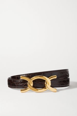 Dark brown Croc-effect leather belt | SAINT LAURENT | NET-A-PORTER