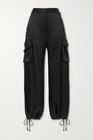 Satin Wide-leg Pants - Black
