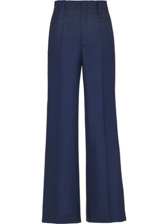 Shop blue Prada high-rise flared trousers with Express Delivery - Farfetch