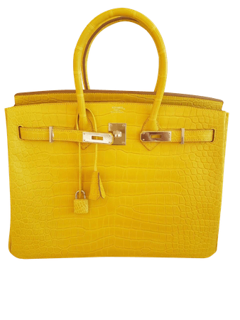 Sac Hermès Birkin 30 Alligator Jaune Mimosa