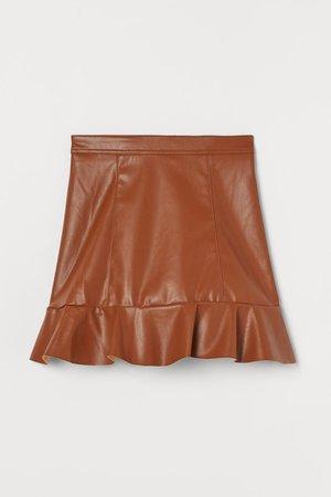 Flounced Skirt - Brown - Ladies | H&M US