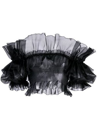 Giambattista Valli Cropped Ruffled Blouse - Farfetch