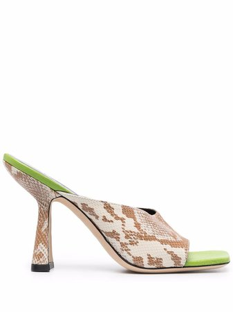 Shop BY FAR snakeskin-effect sandals with Express Delivery - FARFETCH