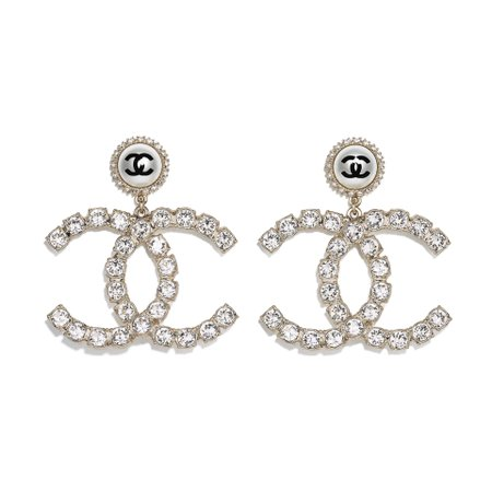 Metal, Imitation Pearls & Strass Gold, Pearly White, Black & Crystal Earrings   CHANEL