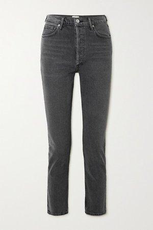 Charlotte Cropped High-rise Straight-leg Jeans - Dark gray