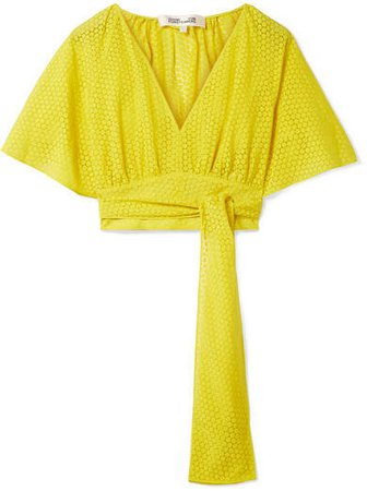 Cropped Devoré-voile Wrap Blouse - Bright yellow